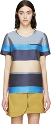 Ostwald Helgason Grey Striped Silk Mikado T Shirt