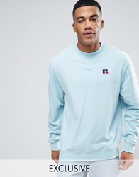 Russell Athletic Sweatshirt With Embroidered Logo Blue