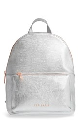 Ted Baker London Pearen Leather Backpack Metallic Silver