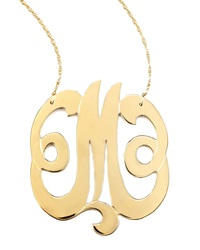 Jennifer Zeuner Jewelry Jennifer Zeuner Swirly Initial Necklace M Gold