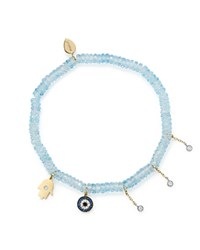 Meira T 14K White And Yellow Gold Evil Eye And Hamsa Hand Charm Beaded Stretch Bracelet With Blue Topaz And Sapphire White Blue