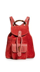 Wgaca What Goes Around Comes Around Gucci Red Suede Bamboo Backpack