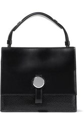 Kara Woman Baby Moon Glossed And Textured Leather Shoulder Bag Black
