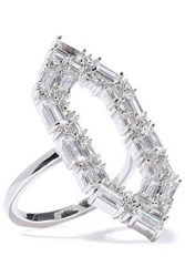 Noir Jewelry Woman Rhodium Plated Crystal Ring Silver
