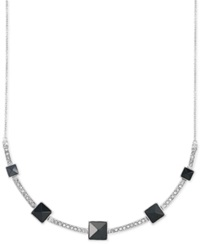 Sis By Simone I Smith White Crystal And Jet Pyramid Stud Frontal Necklace In Platinum Over Sterling Silver
