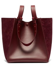 Sophie Hulme Cube Leather And Suede Tote Bag Burgundy