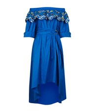 Peter Pilotto Embroidered Off Shoulder Dress Female Blue