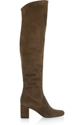 Saint Laurent Stretch Suede Over The Knee Boots