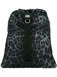 Dolce And Gabbana Leopard Print Drawstring Backpack Grey
