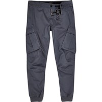 River Island Mens Blue Slim Fit Cargo Trousers