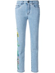 Mr And Mrs Italy Cropped Floral Detail Jeans Blue