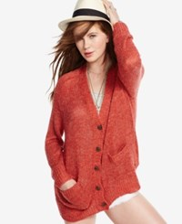 Denim And Supply Ralph Lauren V Neck Button Front Cardigan Vintage Red