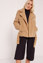 Missguided Faux Shearling Biker Jacket Brown
