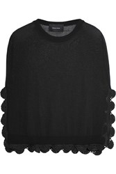 Simone Rocha Crochet Trimmed Cotton Blend Top Black