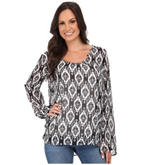 Stetson Aztec Print Chiffon Peasant Top Black Women's Clothing