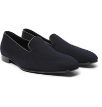 Anderson And Sheppard George Cleverley Leather Trimmed Cashmere Slippers Navy