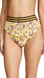 For Love And Lemons Paulina Ruched Bikini Bottoms Yellow Floral
