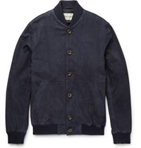 Oliver Spencer Slim Fit Suede Bomber Jacket Navy