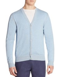 Saks Fifth Avenue Ribbed Button Front Cardigan Sky