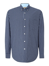 T.M.Lewin Check Relaxed Fit Casual Shirt Navy