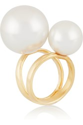 Kenneth Jay Lane Gold Plated Faux Pearl Ring Metallic