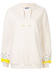 Sjyp Embroidered Sleeve Hoodie White