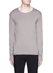 Attachment Double Layer Long Sleeve T Shirt Brown