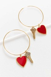 Urban Outfitters Charm Hoop Earring Red
