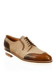 Corthay Horatio Calf Hair And Leather Brogue Dress Shoes Tan