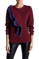 Tov Asymmetrical Ruffle Pullover Red