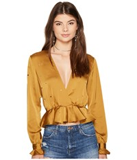For Love And Lemons Twinkle Long Sleeve Blouse Olive Women's Blouse