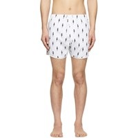Neil Barrett White And Black Lightning Bolt Swim Shorts