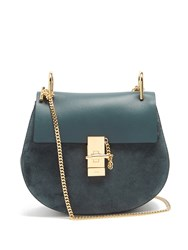 Chloe Drew Small Leather And Suede Cross Body Bag Navy