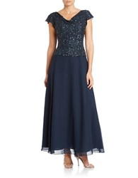 J Kara Cowl Neck Beaded Gown Navy