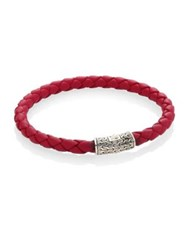 John Hardy Classic Chain Leather And Sterling Silver Bracelet Red