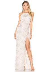 Donna Mizani Embroidered Square Neck Gown Beige