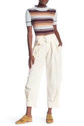 Free People Double Buckle Crop Trousers Ivory