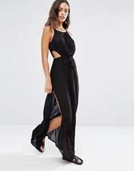 Akasa Keyhole Cut Out Beach Maxi Dress Black
