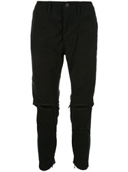Julius Cut Out Knee Trousers Black