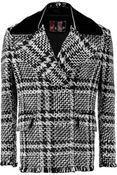 Msgm Checked Boucle Tweed Jacket Black