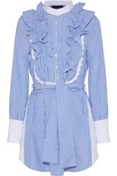 Marissa Webb Shaina Ruffle Trimmed Striped Cotton Poplin Shirt Dress Blue