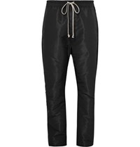 Rick Owens Contrast Trimmed Shell Drawstring Trousers Black