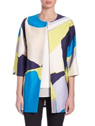 Lk Bennett Amina Flaming Printed Elbow Sleeve Wool And Silk Coat Multi
