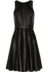 Jason Wu Leather And Suede Pleated Dress Black