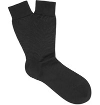 Alexander Mcqueen Cotton And Silk Blend Jacquard Socks Black