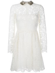 Valentino Embroidered Collar Lace Dress White