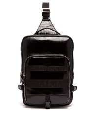 Balmain One Shoulder Cross Body Leather Backpack Black