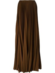 A.F.Vandevorst Pleated Maxi Skirt Brown