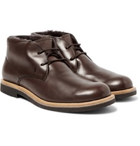 Tod's Shearling Lined Leather Desert Boots
