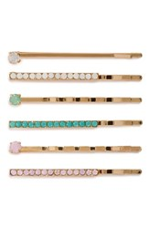Bp. Crystal And Pearly Bead Bobby Pins Pink 5 Pack Pastel Multi